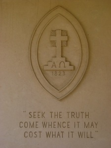 Carved into the outer wall of my Seminary's library.