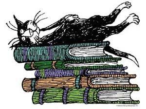 Gorey's cat & books